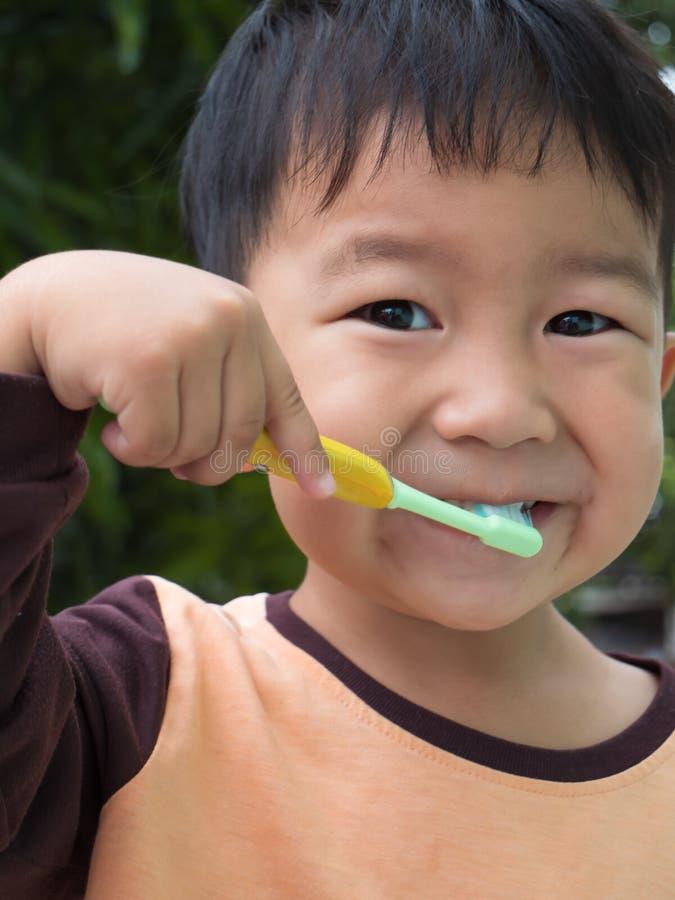 Asian young kid brushing teeth stock photography