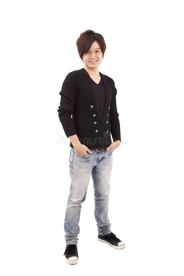 Asian young man and smiling stock photos