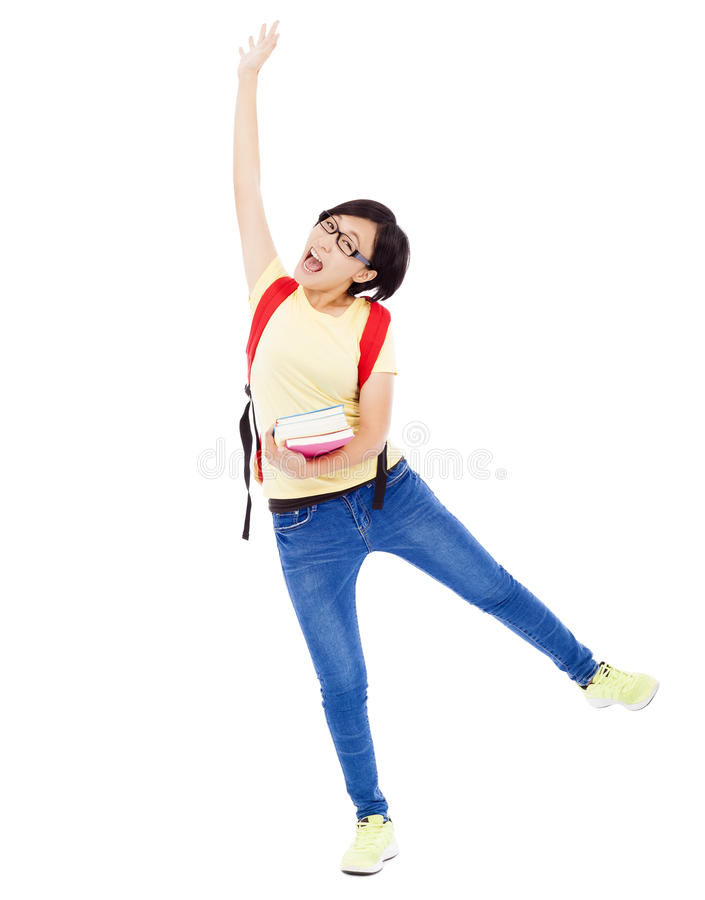 Free Asian Young Student Girl Raising A Hand With Book Stock Photography - 43677402