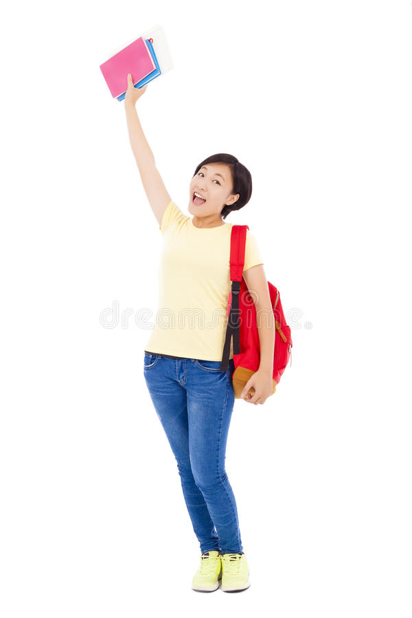 Free Asian Young Student Girl Raising A Hand With Book Royalty Free Stock Photos - 44510168
