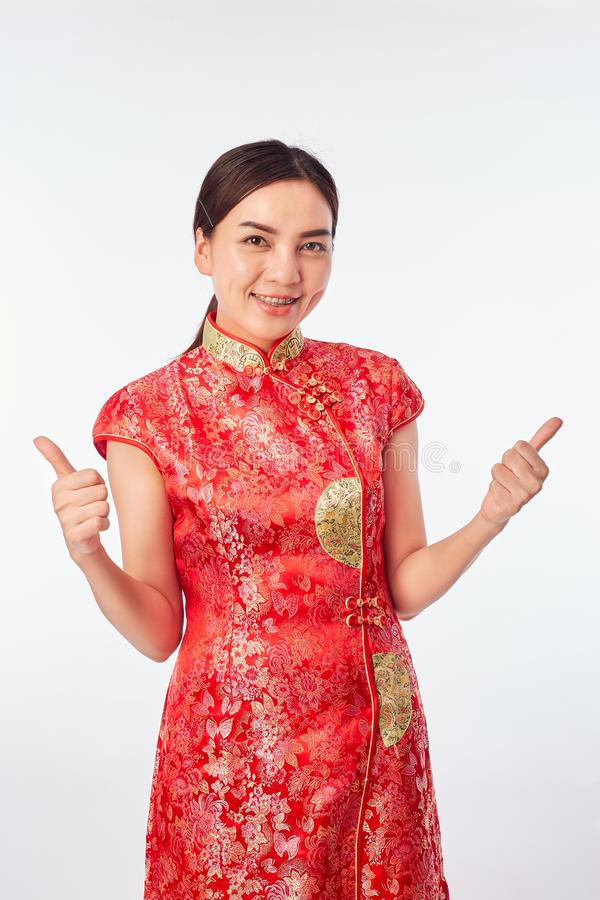 Asian Young Woman Red Wearing Red Traditional royalty free stock photo