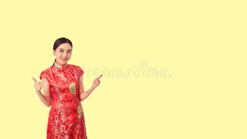 Asian Young Woman Red Wearing Red Traditional royalty free stock image