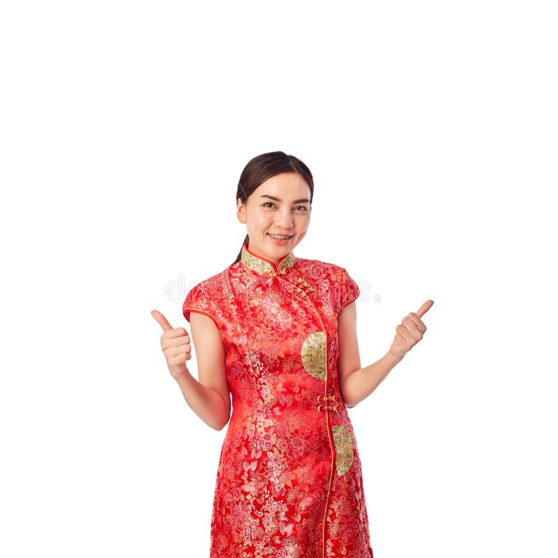 Asian Young Woman Red Wearing Red Traditional stock image