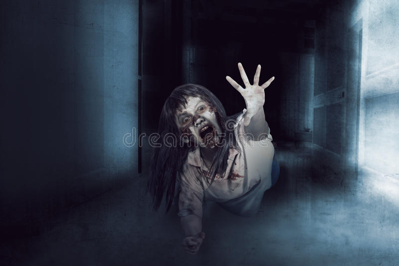 Asian zombie ugly woman stock images