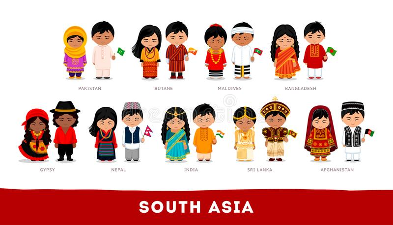 Asians in national clothes. South Asia. Set of cartoon character stock illustration