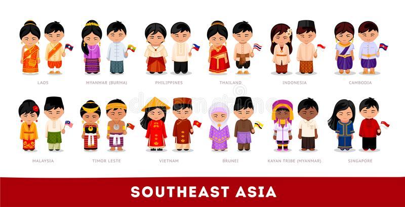 Asians in national clothes. Southeast Asia. Set of cartoon chara stock photography