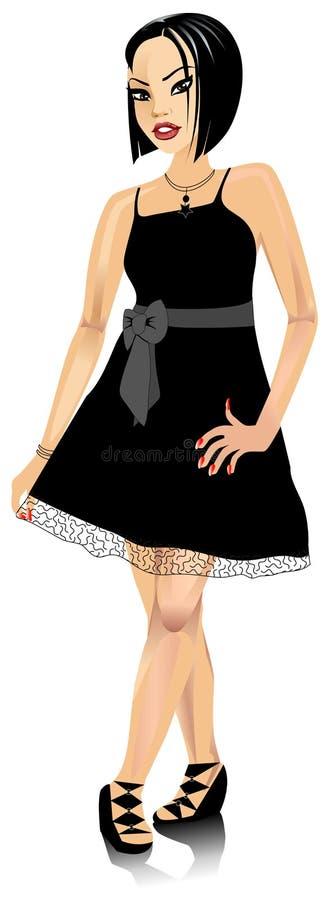 AsianWomanBlackBowDress vektor illustrationer