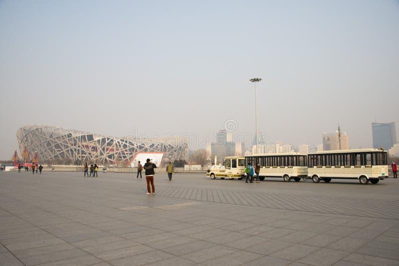 Asiat China, Peking, das nationale Stadiumï-¼ ŒViewing der kleine Zug lizenzfreie stockfotografie