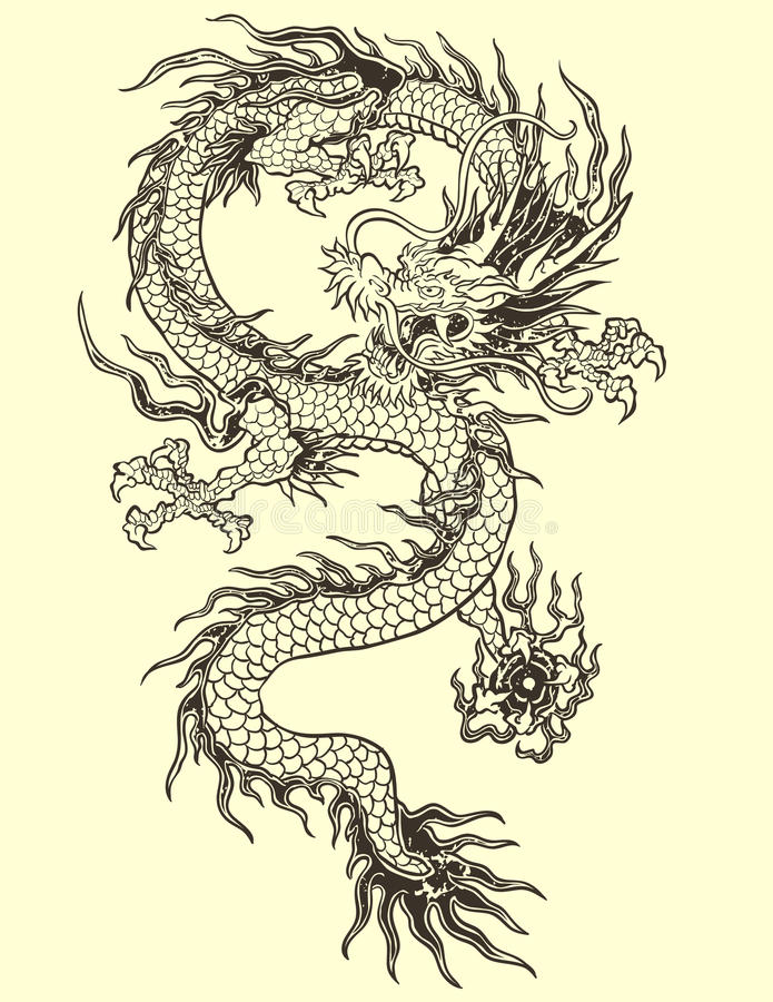 Asiat Dragon Tattoo Illustration stock abbildung