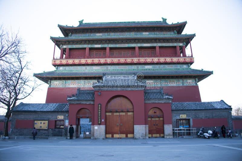 Asiat Kina, Gulou, Peking, historiska byggnader, arkivbilder