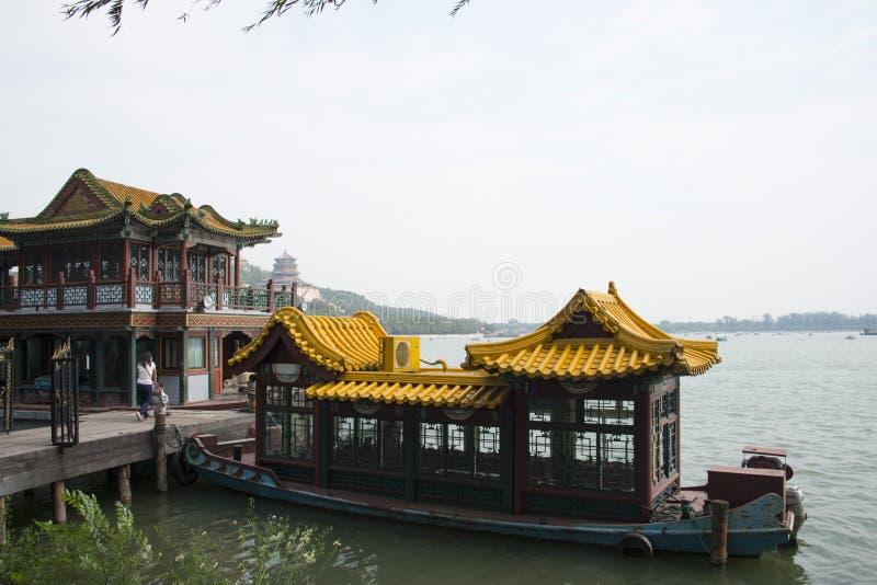 Asiat Kina, Peking, sommarslotten, kryssning arkivbild