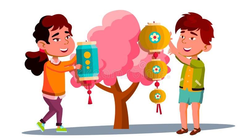 Asiat Little Boy och flicka som hänger den kinesiska röda lyktan på trädvektor isolerad knapphandillustration skjuta s-startkvinn stock illustrationer