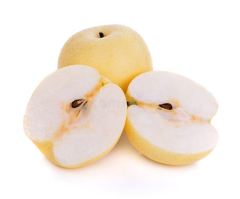 Asiat-päron frukt på vit bakgrund royaltyfria bilder