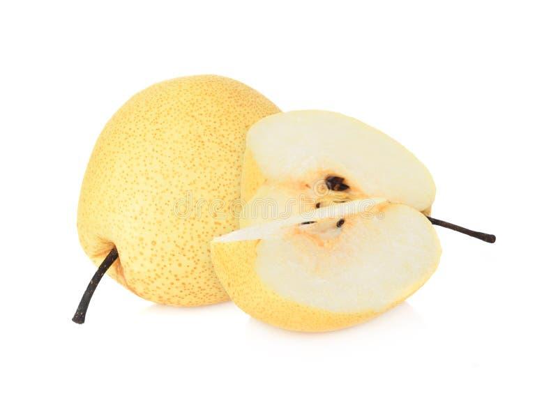 Asiat-päron frukt på vit bakgrund fotografering för bildbyråer