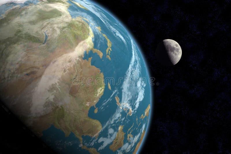 Asiat und Mond mit Sternen lizenzfreie abbildung