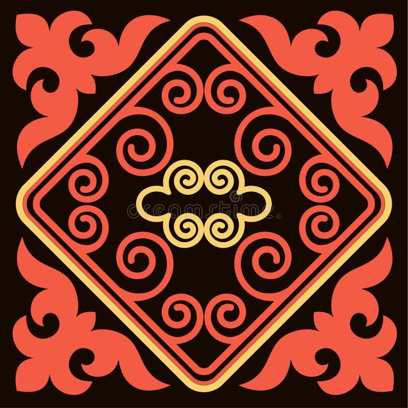 Asiat verziert Sammlung Historisch Ornamental des Nomadenvolks Es basierte auf WirklichKasacheteppichen des Filzes und der Wolle vektor abbildung