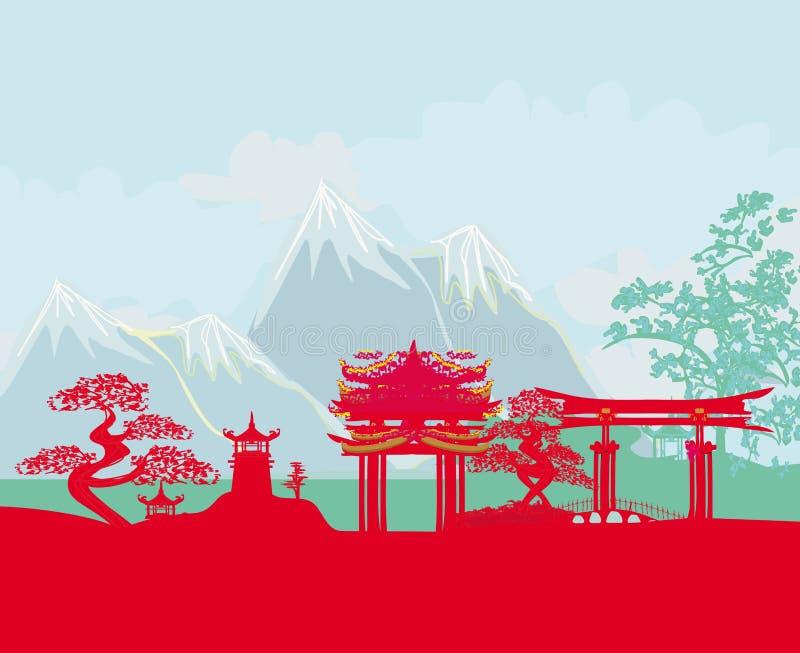Asiatabstrakt begrepplandskap stock illustrationer