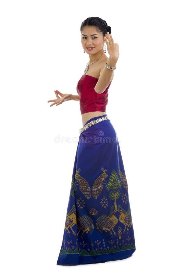 asiatet beklär den traditionella dansen royaltyfri fotografi