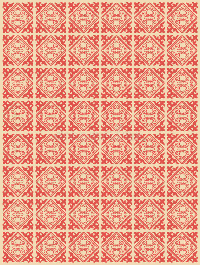 Asiatet smyckar samlingen Historically dekorativt av nomad- folk Det baserade på verklig-Kazakh mattor av filt och ull royaltyfri illustrationer