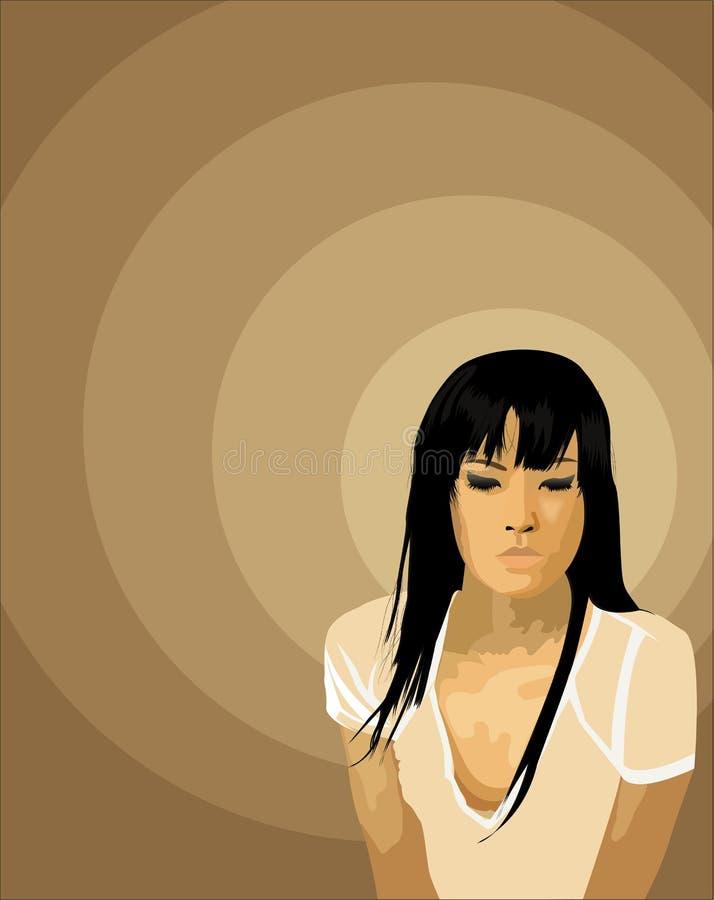 asiatic flicka stock illustrationer
