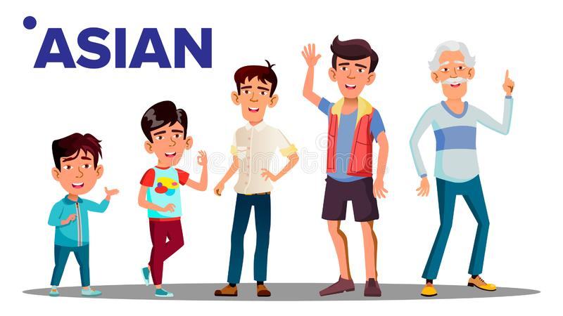 Asiatic pokolenia osoby wektoru Męscy ludzie Azjatycki dziad, ojciec, syn, wnuk, dziecko wektor odosobniony ilustracja wektor