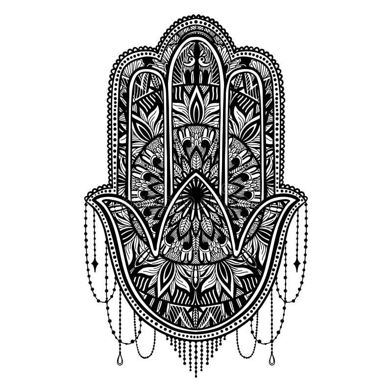 Asiatico di religione del talismano di Hamsa Grafica a colori nera nel fondo bianco Simbolo di protezione e del talismano contro  illustrazione vettoriale