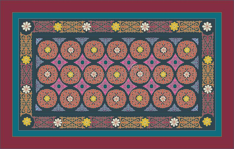 ASIATICO ORIENTALE, ARABO, MEDIO, ORNAMENTO PERSIANO COLORI COLORATI moquette royalty illustrazione gratis