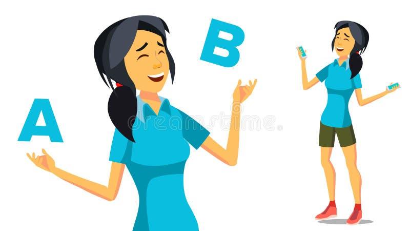 Asiatin, die A mit b-Vektor vergleicht Kreative Idee ausgleichen Kundenrezension Lokalisierte flache Karikaturillustration lizenzfreie abbildung