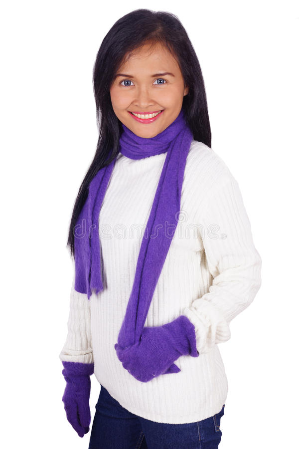 Asiatin mit Pullover stockfotos