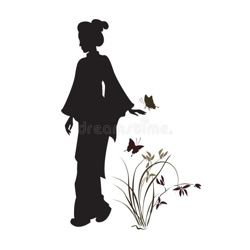 Asiatin, Orchidee und Schmetterling vektor abbildung