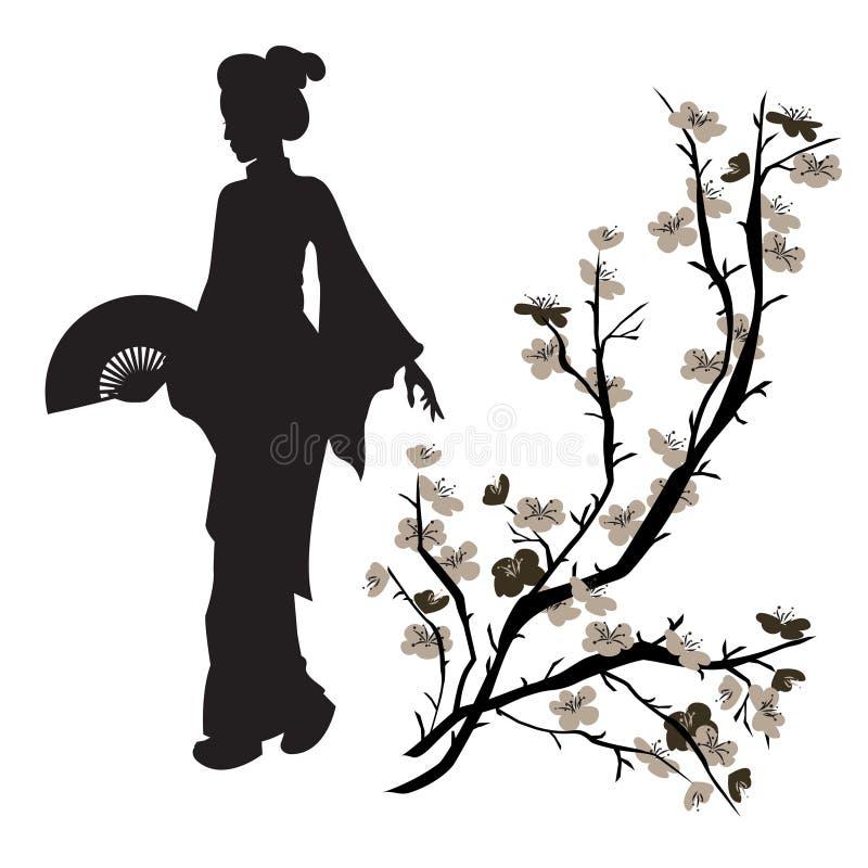 Asiatin und chinesischer Pflaumenbaum lizenzfreie abbildung