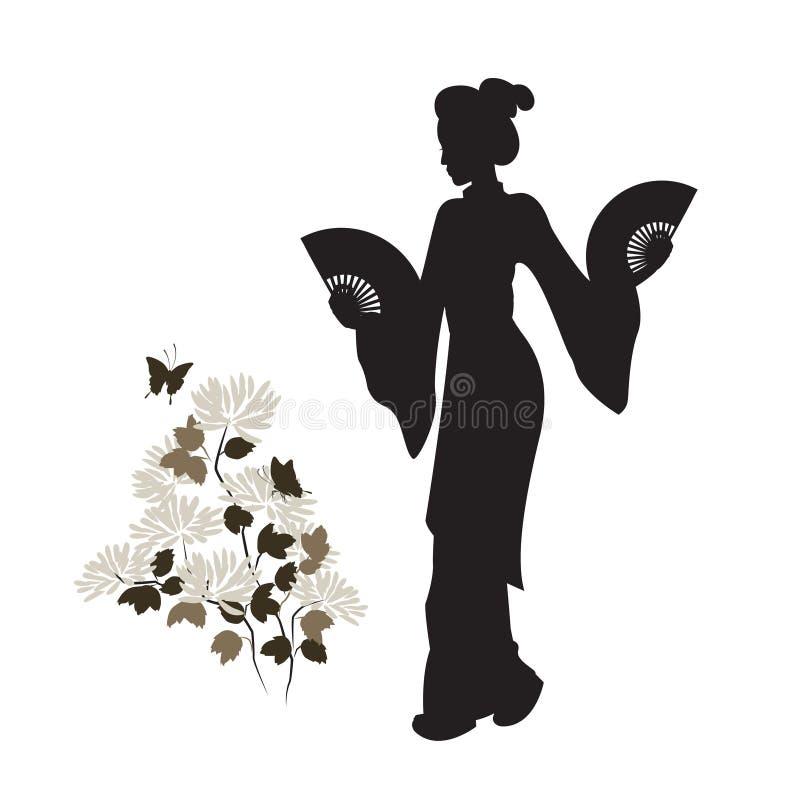 Asiatin und Chrysantheme stock abbildung