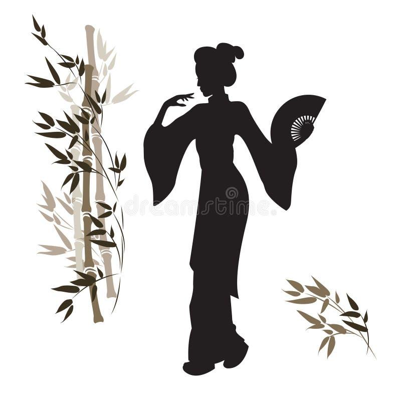 Asiatin und Stamm des Bambusses stock abbildung