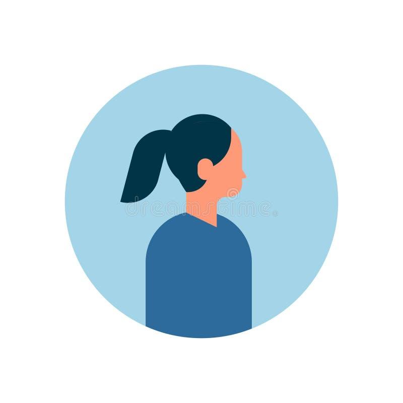 Asiatincharakter-Profilporträt auf flacher Karikatur des weißen Avataras des Hintergrundes weiblichen vektor abbildung