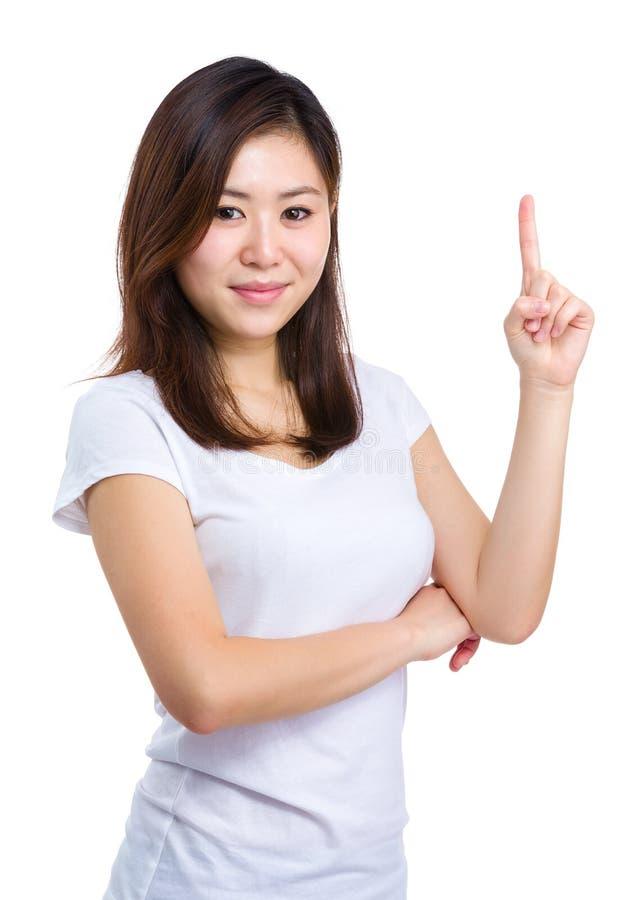 Asiatinfinger, der oben zeigt lizenzfreies stockbild