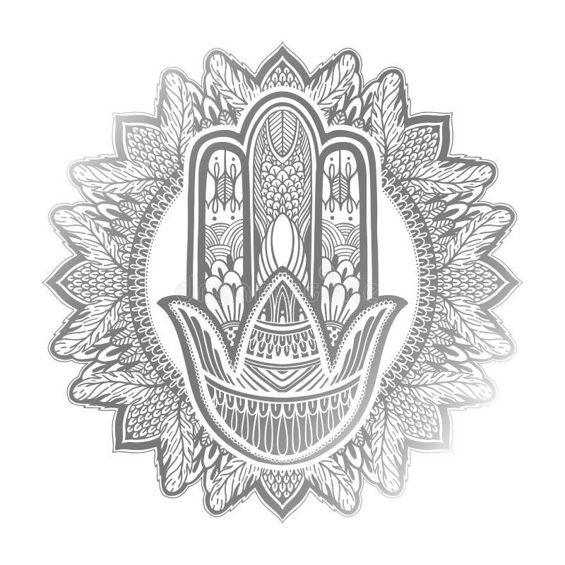 Asiatique de religion de talisman de Hamsa Graphique couleur argent? ? l'arri?re-plan blanc Symbole de la protection et du talism illustration stock