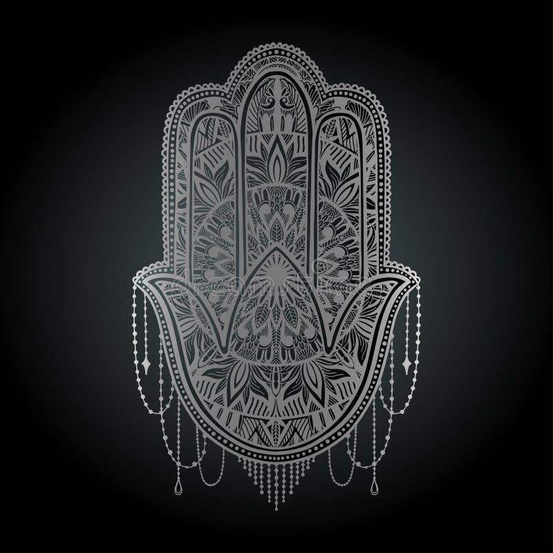 Asiatique de religion de talisman de Hamsa Graphique couleur argent? ? l'arri?re-plan noir Symbole de la protection et du talisma illustration stock