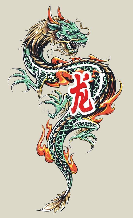 Asiatique Dragon Tattoo illustration libre de droits