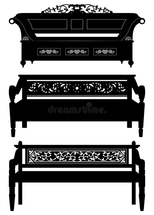 Asiatische antike Stuhl-Bank-Möbel im Schattenbild stock abbildung
