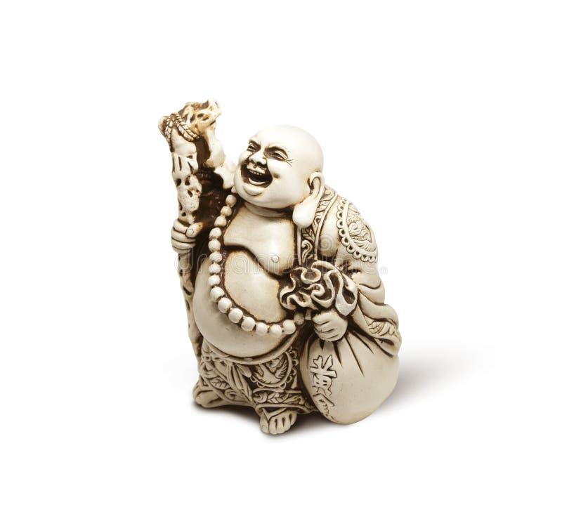 Asiatische dekorative Figürchen Hotai, Amulett holt Glück Getrennt auf weißem Hintergrund lizenzfreie stockfotos