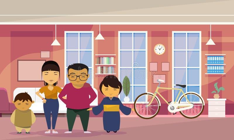 Asiatische Familien-Eltern mit zwei Kinderzu hause Wohnzimmer-Hintergrund lizenzfreie abbildung