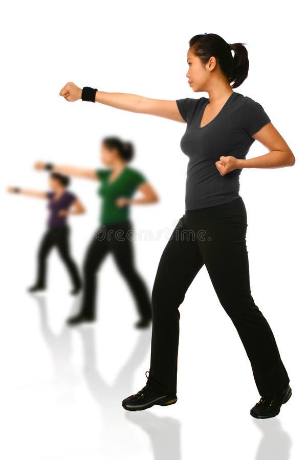 Asiatische Frau in der Kampfposition lizenzfreies stockfoto