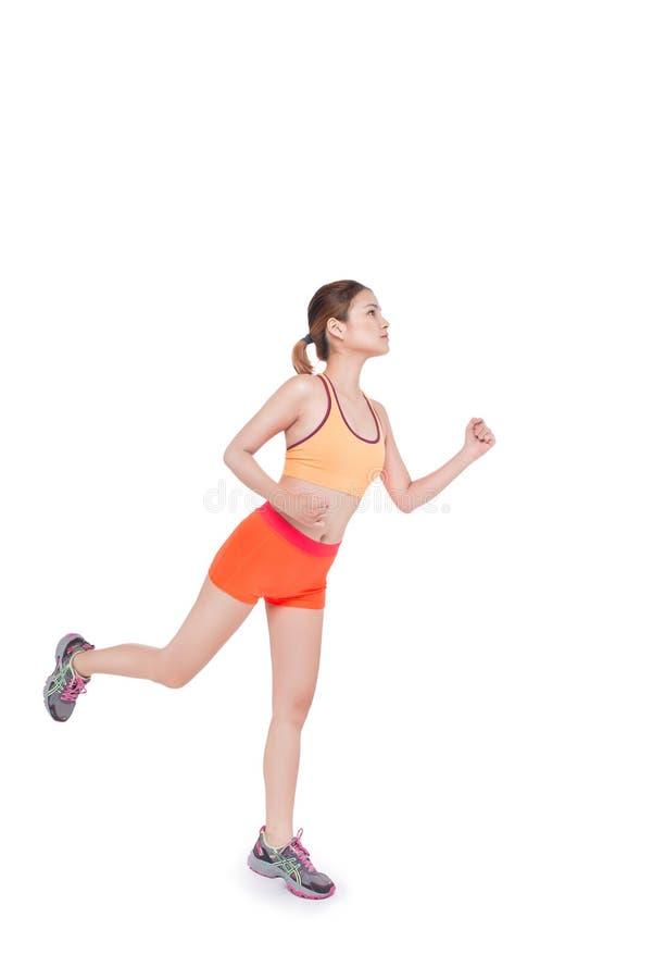 Asiatische Frau der laufenden Eignung lokalisiert auf weißem Hintergrund stockfotos