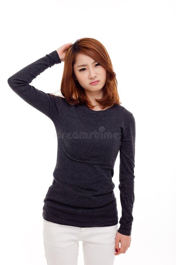 Asiatische Frau, die Druck hat lizenzfreies stockfoto