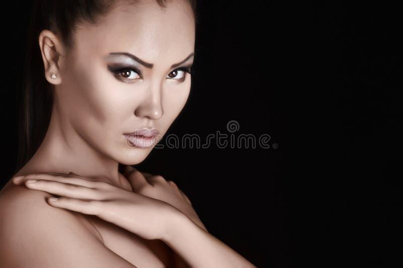 Asiatische Frau, Lippen und Auge der Schönheit lizenzfreie stockfotos