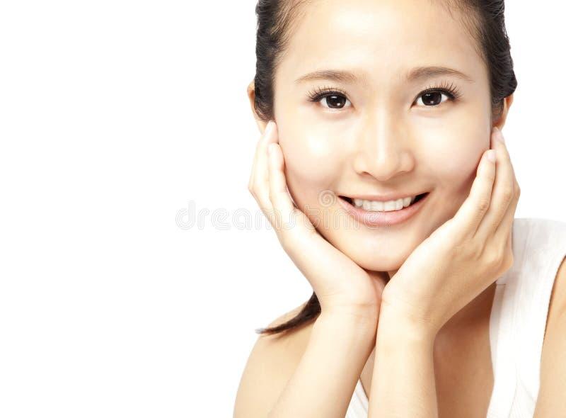 Asiatische Frau \ 's-Gesicht lizenzfreie stockfotos