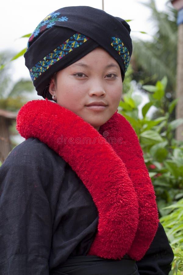 Asiatische Frau, Yao, von Laos lizenzfreie stockbilder