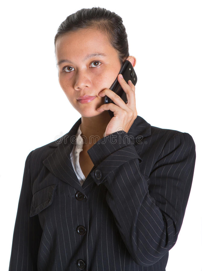 Asiatische Geschäftsfrau And Smartphone III lizenzfreies stockfoto