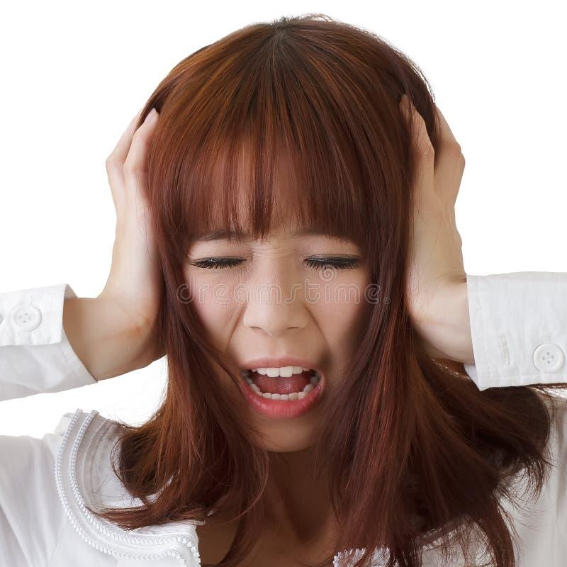 Asiatische Geschäftsfrau unter Druck stockbilder