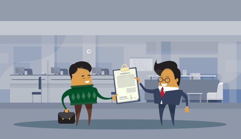Asiatische Geschäftsmann-Partner, die Lastenheft-Geschäftsmann-Vereinbarungs-Abkommen-Konzept unterzeichnen stock abbildung
